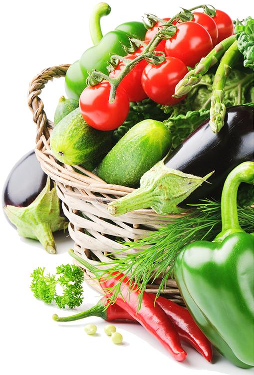 Panier de légumes pour image de fond